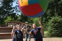 Our giant volleyball is around 40 inches wide... so it's really funny to watch people try to play with it!