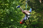 With the super-safe harnesses, you can do a lot of fun things on the Screaming Eagle Zip Line!