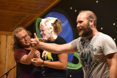 Samuel and Jordan snuck up on Mariah at the variety show last night and pied her!