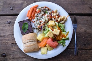On the menu: rice pilaf, pasta salad, fruit, salad, veggies, bread and mint brownies.