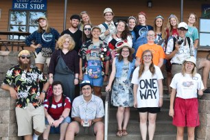 Not all the staff members could manage the lightning-fast wardrobe change from space to road trip theme, but quite a few dressed up!