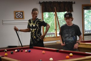 Indoor free time activities include pool, ping pong, carpet ball and foosball.