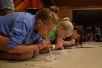 Before dinner, four campers competed in an amphitheatric to see who could move the most pieces of candy with a straw in a minute.