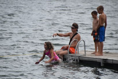 Campers were eager to take the swim test so they can swim out to the raft!