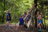 During skills time, some cabins went up to Eagle Ridge to build forts!
