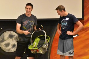 "In chapel, Nate talked about being ""born again"" while Weston tried to fit in a baby carrier."